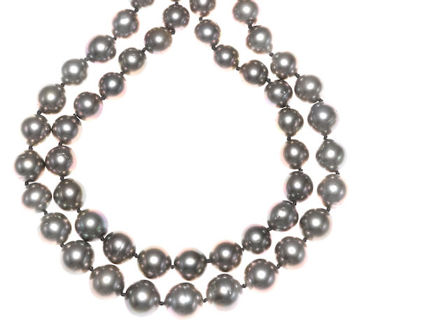 A colored South Sea cultured pearl and diamond double row necklace