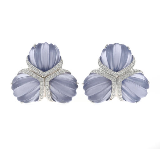 "A pair of carved chalcedony and diamond ""Triple Fan"" earclips, Valentin Magro"