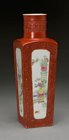 A square-sectioned porcelain baluster vase with coral red and famille rose enamel decoration Republic period
