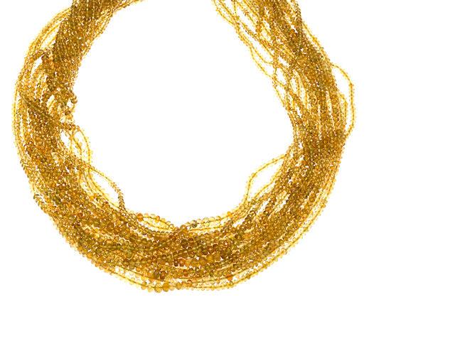 A tourmaline bead multi-strand necklace, Tiffany & Co.,