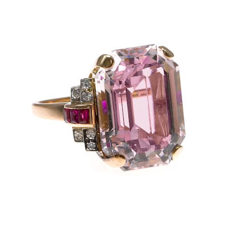 A retro morganite, ruby, and diamond ring,