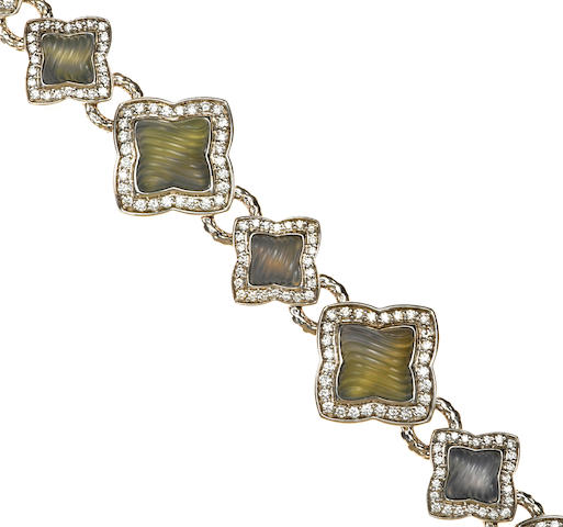 A carved moonstone and diamond quatrefoil bracelet, David Yurman