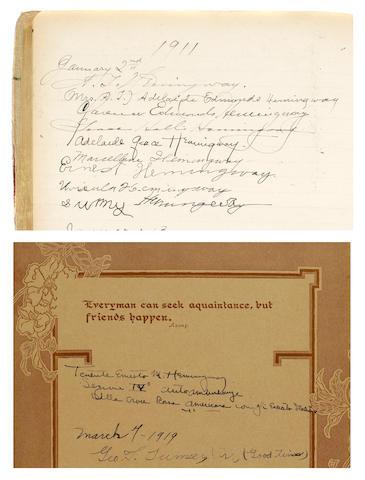 HEMINGWAY, ERNEST. 1899-1961. 5 signatures of Ernest Hemingway in 2 guest books,