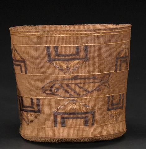 A Tlingit polychrome basket