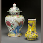 Two polychrome enameled porcelain containers