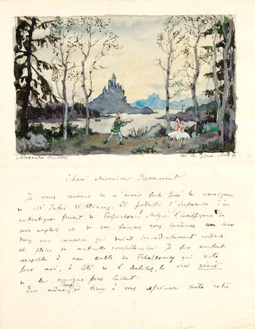 BENOIS, ALEXANDRE. 1870-1960. Autograph Letter Signed, 2 pp, n.p., April 29, 1947,