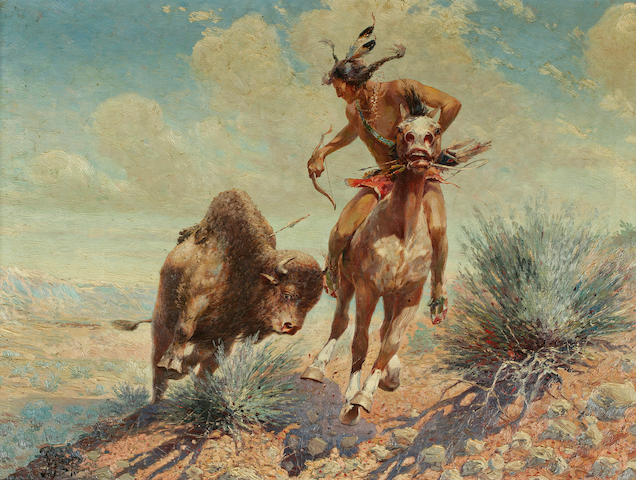 Herbert Herget, Indian and Buffalos, 23 1/2 x 31 1/2in