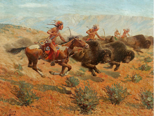 Herbert Herget, Indians Shooting Buffalo, 23 1/2 x 31 1/2in