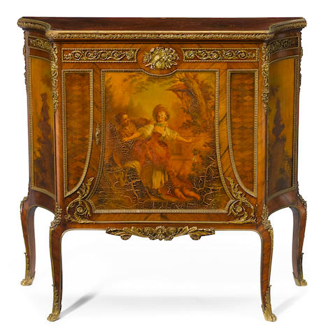 A Louis XV style gilt bronze mounted Vernis Martin side cabinet