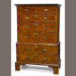 A George III burled walnut chest on chest