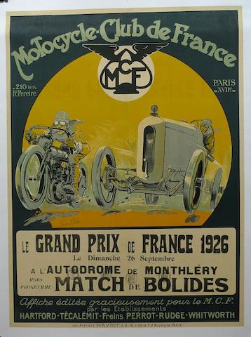 A Grand Prix de France 1926, Motorcycle Club de France poster,