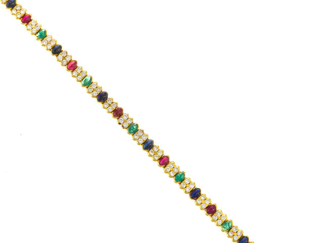 A ruby, emerald, sapphire and diamond bracelet