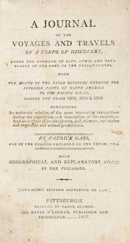 GASS, PATRICK. 1771-1870.  A Journal of the Voyages and Travels of a Corps of Discovery, under the command of Captain Lewis and Captain Clarke.  Pittsburgh: printed by Zadok Cramer, for David M'Keehan, 1807.