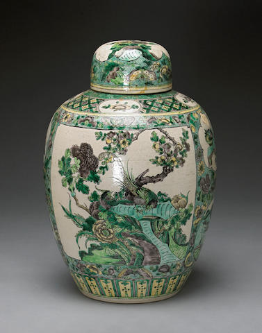 A famille verte biscuit-enameled porcelain ovoid jar and cover  Late Qing/Republic period