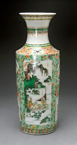 A tall famille verte enameled porcelain baluster vase with landscape reserves Late Qing/Republic period