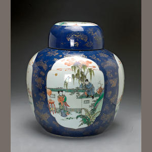A powder blue ground porcelain covered jar with famille verte and gilt enamel decoration  Late Qing/Republic period
