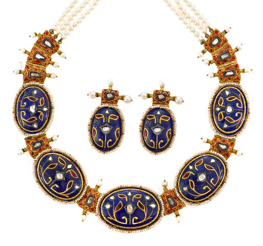 A diamond, lapis lazuli, red-stone, seed pearl, freshwater cultured pearl and enamel necklace together with a pair of earrings