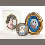 Three portrait miniatures 19th/early 20th century