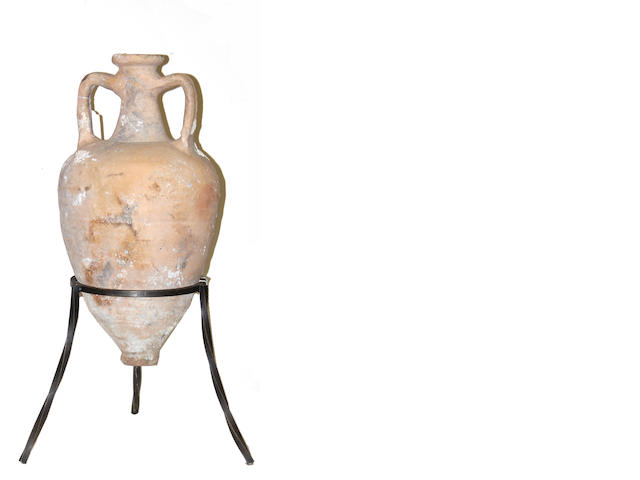 A terracotta two handled trade amphora