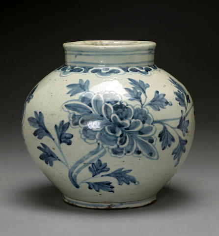 A blue and white porcelain globular jar 19th century