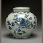 A blue and white porcelain globular jar  Joseon dynasty, 19th century