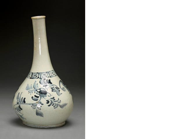 A blue and white porcelain long-necked bottle Joseon dynasty, 19th century