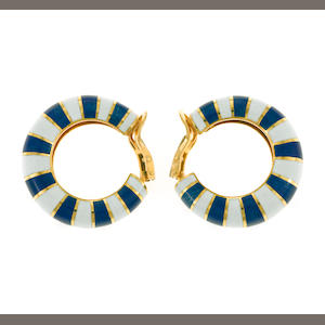 A pair of enamel and eighteen karat gold hoop earrings, VCA Van Cleef & Arpels, French