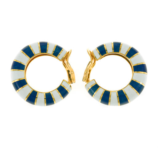 A pair of enamel and eighteen karat gold hoop earclips, Van Cleef & Arpels, French