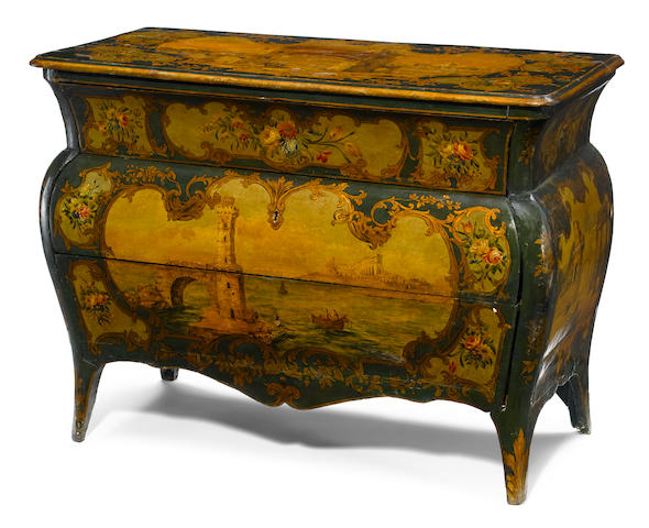 An Italian Rococo parcel gilt and paint decorated chest  mid 18th century