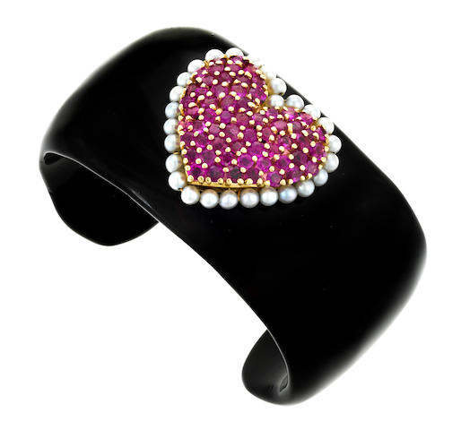 A black onyx, ruby and cultured pearl pavé-set heart cuff bracelet