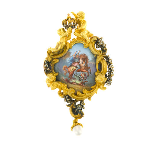 A painted porcelain, cultured pearl and diamond locket brooch,