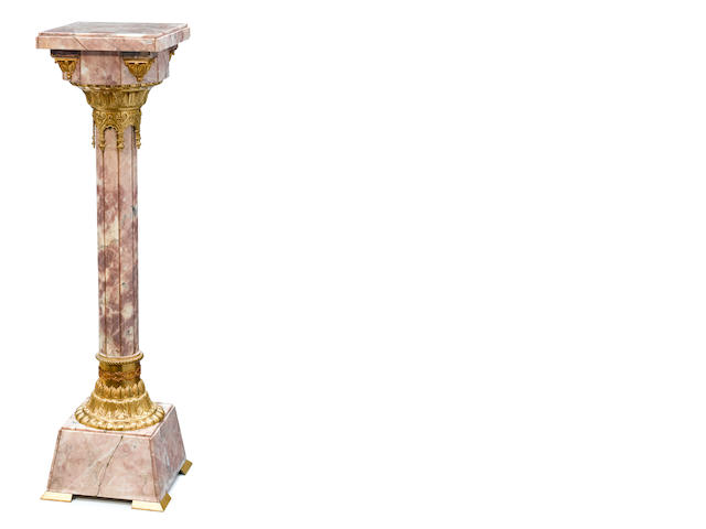 A French gilt bronze mounted marble pedestal