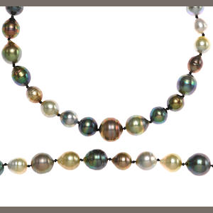 A multi-colored baroque cultured pearl necklace together with bracelet