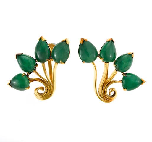A pair of jadeite jade screwback earrings