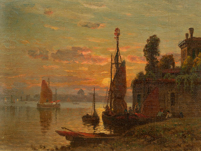 John Joseph Enneking (American, 1841-1916) Adriatic sunset, 1874 9 1/2 x 12 3/4in