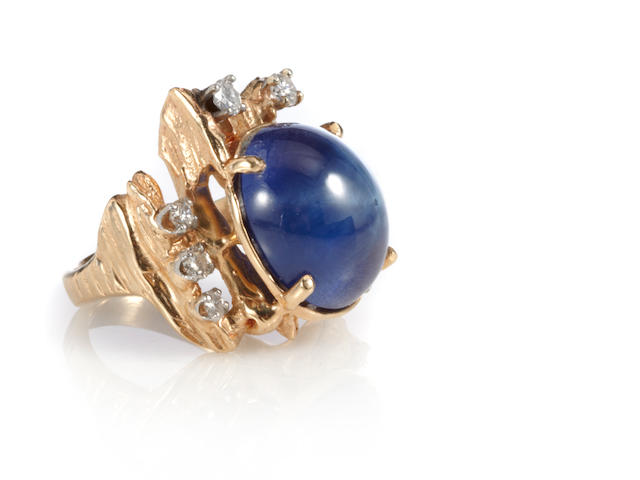 A star sapphire, diamond and 14k gold ring