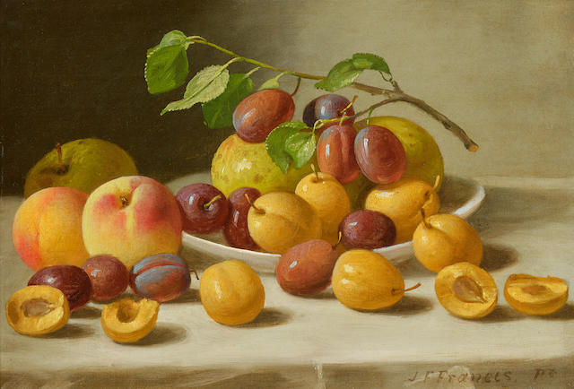 John F. Francis (American, 1808-1886) Still Life with Peaches, Plums and Apples 11 x 16in