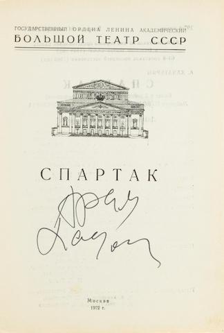 KHACHATURYAN, ARAM ILICH. 1903-1978. Spartak. [Spartacus.] Moscow: Bolshoi Teatr, 1972. <BR />