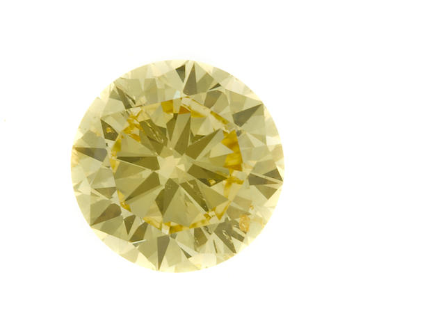 An unmounted fancy intense yellow diamond