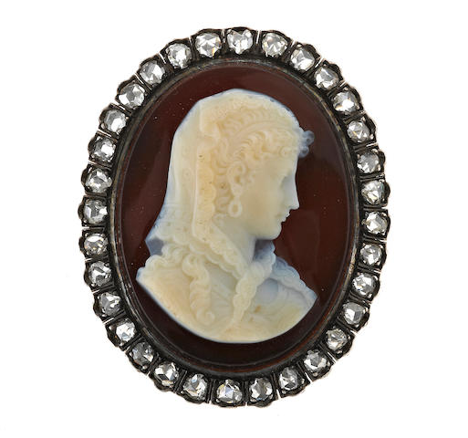 A hardstone cameo and diamond brooch