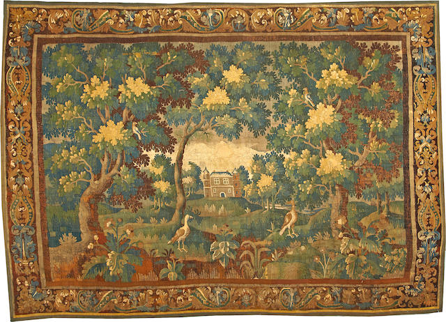A French Tapestry  France (Verdure) size approximately 8ft. 5in. x 11ft. 5in.