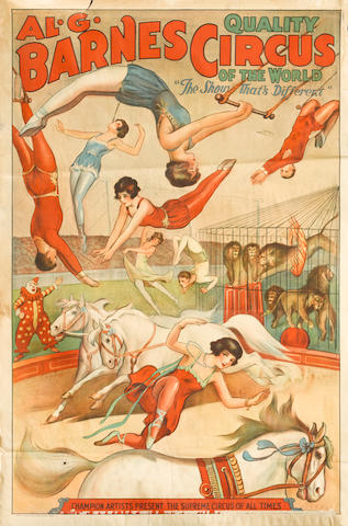 "Artist Unknown (20th century) <BR />AL.G.Barnes Circus Of The World ""The show that's different"""