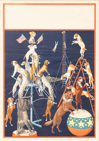 Artist Unknown (20th century) <BR />Trained Circus Dogs