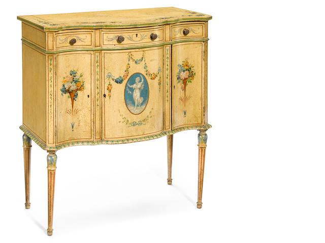 A George III style polychrome wood diminutive serpentine side cabinet