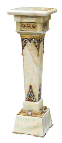 A French champlevé and gilt bronze mounted onyx pedestal  late 19th century