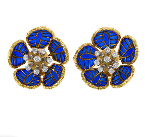 A pair of plique-à-jour and diamond en tremblant flower earrings, Fred, Paris
