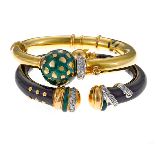Two diamond and enamel bangle bracelets, La Nouvelle Bague