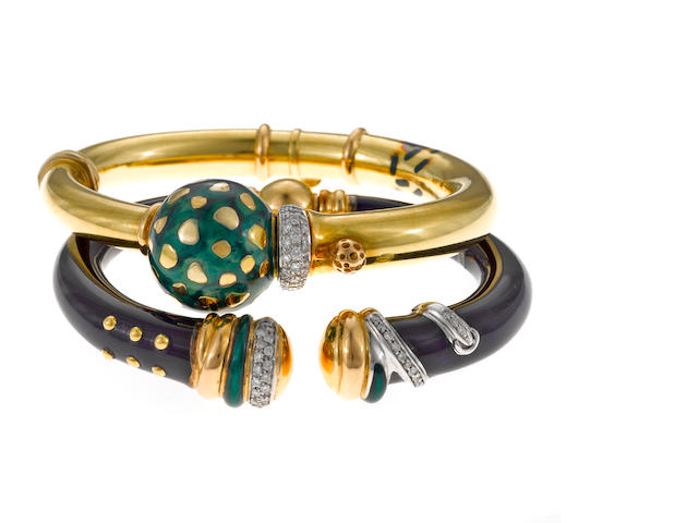 Two diamond and enamel bangle bracelets, Nouvelle Bague