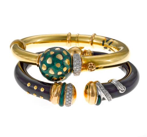 Two diamond and enamel bangle bracelets, Nouvelle Bague