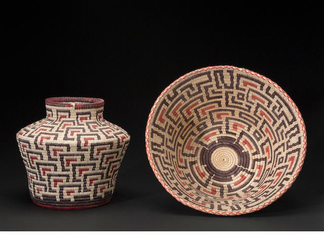 A pair of Navajo baskets